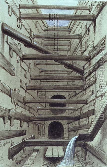 Huge version of Interior of Fleet Street Sewer, 1845