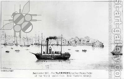 The Clermont, the first Steam Packet, sailing from New York to Albany in September 1807, engraved by L.N. Rosenthal by (after) Sherwin, J.H. - Reproduction Oil Painting