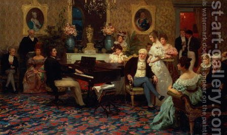Chopin Playing the Piano in Prince Radziwills Salon, 1887 by Henryk Siemieradzki - Reproduction Oil Painting