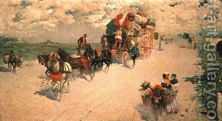 The Gypsy Wagon by Giovanni Signorini - Reproduction Oil Painting