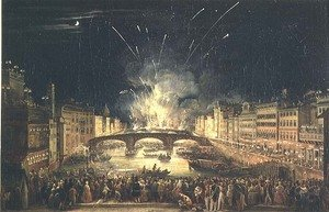 Famous paintings of Fireworks: Fireworks over the River Arno