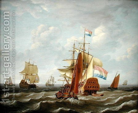 A Dutch Three-Master Amongst other Shipping by Adam Silo - Reproduction Oil Painting