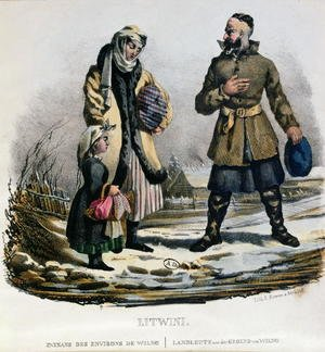 Lithuanian peasants from the Vilnius region, c.1830-40