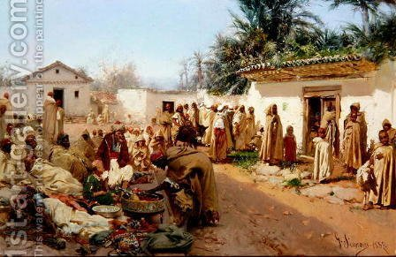Arab Village Scene, 1883 2 by Gustavo Simoni - Reproduction Oil Painting