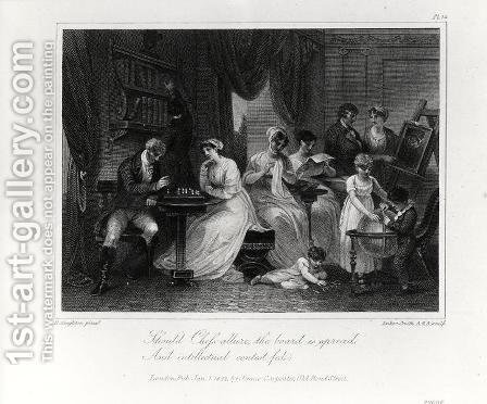 Drawing Room Scene, from The Social Day by Peter Coxe, engraved by Anker Smith 1759-1819, published 1822 by Henry Singleton - Reproduction Oil Painting