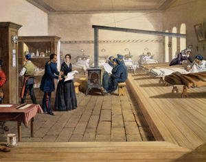 Hospital at Scutari, detail of Florence Nightingale 1820-1910 on the ward, from The Seat of War in the East, pub. by Paul and Dominic Colnaghi and Co., 1856