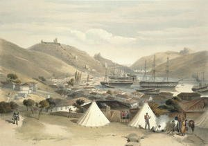 Famous paintings of Tent: Balaklava, Looking Towards the Sea, plate from The Seat of War in the East, 1856