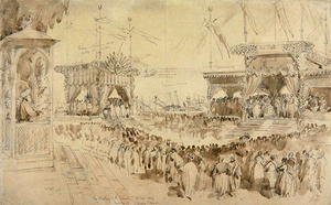 Famous paintings of Tent: The Blessing of the Suez Canal, 1869