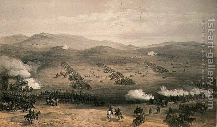 Huge version of Charge of the Light Cavalry Brigade, 25th October 1854, engraved by E. Walker, pub. by Colnaghi and Co, 1855