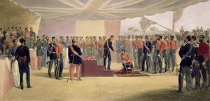Famous paintings of Tent: The Investiture of the Order of the Bath, plate from The Seat of War in the East, pub. by Paul and Dominic Colnaghi and Co., 1856