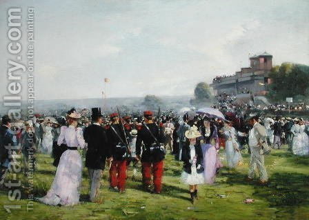 The End of the Races at Auteuil, c.1893 by Alfred Smith - Reproduction Oil Painting
