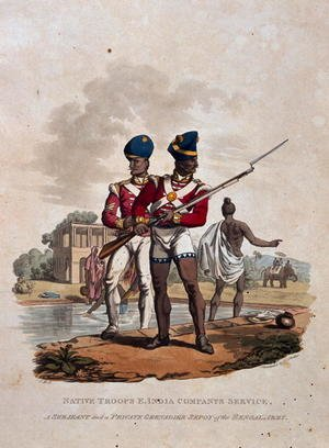 Charles Hamilton Smith reproductions - Native Troops, East India Companys Service, A Sergeant and a Private Grenadier Sepoy of the Bengal Army, from Costumes of the Army of the British Empire, according to the last regulations 1812, published by Colnaghi and Co. 1812-15