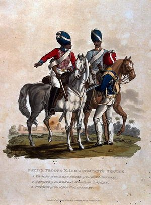 Reproduction oil paintings - Charles Hamilton Smith - Native Troops, East India Companys Service, Troops of the Body Guard of the Governor General, Private of the Bengal Regular, from Costumes of the Army of the British Empire, according to the last regulations 1812, published by Colnaghi and Co. 1812-15