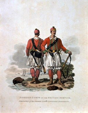 Reproduction oil paintings - Charles Hamilton Smith - Foreign Corps in the British Service, Privates of the Greek Light Infantry Regiment, from Costumes of the Army of the British Empire, according to the last regulations 1812, engraved by J.C. Stadler, published by Colnaghi and Co. 1812-15