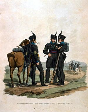 Reproduction oil paintings - Charles Hamilton Smith - Hussars and Infantry of the Duke of Brunswick Oelss Corps, from Costumes of the Army of the British Empire, according to the last regulations 1812, engraved by J.C. Stadler, published by Colnaghi and Co. 1812-15