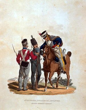 Reproduction oil paintings - Charles Hamilton Smith - 3rd Hussars, Infantry and Light Infantry, Kings German Legion, from Costumes of the Army of the British Empire, according to the last regulations 1812, engraved by J.C. Stadler, published by Colnaghi and Co. 1812-15