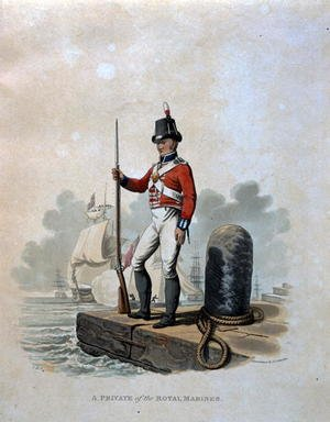 Reproduction oil paintings - Charles Hamilton Smith - A Private of the Royal Marines, from Costumes of the Army of the British Empire, according to the last regulations 1812, engraved by J.C. Stadler, published by Colnaghi and Co. 1812-15