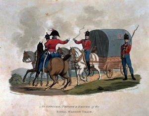 Reproduction oil paintings - Charles Hamilton Smith - An Officer, Private, and Driver of the Royal Waggon Train, from Costumes of the Army of the British Empire, according to the last regulations 1812, engraved by J.C. Stadler, published by Colnaghi and Co. 1812-15