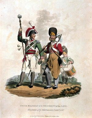 Reproduction oil paintings - Charles Hamilton Smith - Drum Major and Co of a Regiment, of the Line with Pioneer of the Grenadier Company of D, from Costumes of the Army of the British Empire, according to the last regulations 1812, engraved by J.C. Stadler, published by Colnaghi and Co. 1812-15
