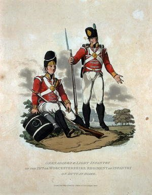 Reproduction oil paintings - Charles Hamilton Smith - Grenadiers and Light Infantry of the 29th or, Worcestershire Regiment of Infantry on Duty at Home, from Costumes of the Army of the British Empire, according to the last regulations 1812, engraved by J.C. Stadler, published by Colnaghi and Co. 1812-15