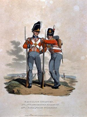 Reproduction oil paintings - Charles Hamilton Smith - Battalion Infantry 6th Regiment and 23rd or Royal Welsh Fusiliers, from Costumes of the Army of the British Empire, according to the last regulations 1812, engraved by J.C. Stadler, published by Colnaghi and Co. 1812-15