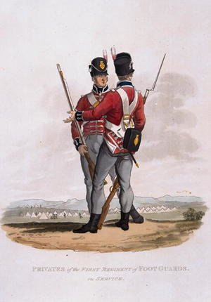 Reproduction oil paintings - Charles Hamilton Smith - Privates of the First Regiment of Foot Guards on Service, from Costumes of the Army of the British Empire, according to the last regulations 1812, engraved by J.C. Stadler, published by Colnaghi and Co. 1812-15