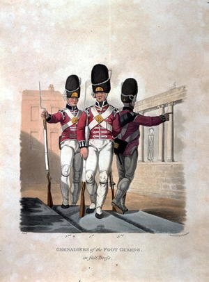 Reproduction oil paintings - Charles Hamilton Smith - Grenadiers of the Foot Guards in Full Dress, from Costumes of the Army of the British Empire, according to the last regulations 1812, engraved by J.C. Stadler, published by Colnaghi and Co. 1812-15