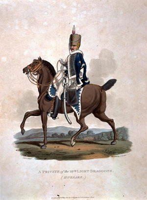 A Private of the 18th Light Dragoons Hussars from Costumes of the Army of the British Empire, according to the last regulations 1812, engraved by J.C. Stadler, published by Colnaghi and Co. 1812-15