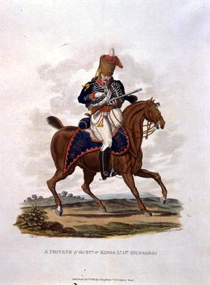 A Private of the 15th, or Kings Hussars, from Costumes of the Army of the British Empire, according to the last regulations 1812, engraved by J.C. Stadler, published by Colnaghi and Co. 1812-15