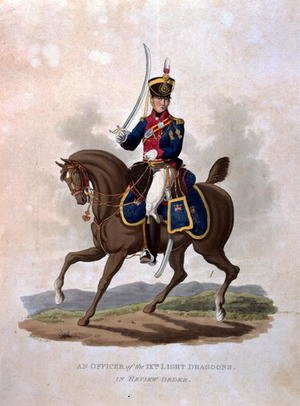 An Officer of the 9th Light Dragoons in Review Order, from Costumes of the Army of the British Empire, according to the last regulations 1812, engraved by J.C. Stadler, published by Colnaghi and Co. 1812-15