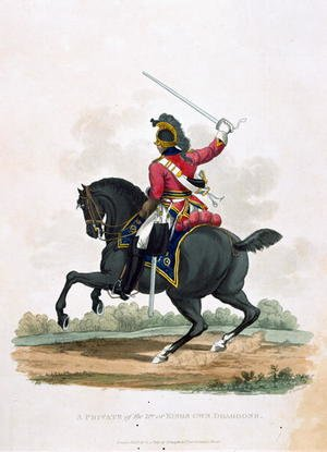 A Private of the 3rd, or Kings Own Dragoons, from Costumes of the Army of the British Empire, according to the last regulations 1812, engraved by J.C. Stadler, published by Colnaghi and Co. 1812-15