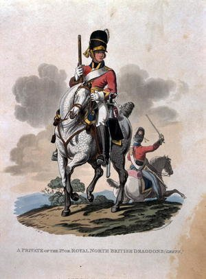 A Private of the 2nd, or Royal Northern British Dragoons (Greys) from Costumes of the Army of the British Empire, according to the last regulations 1812, engraved by J.C. Stadler, published by Colnaghi and Co. 1812-15