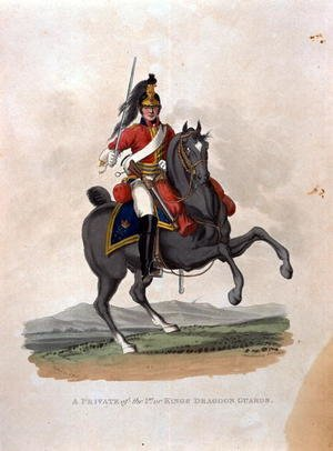 A Private of the 1st, or Kings Dragoon Guards, from Costumes of the Army of the British Empire, according to the last regulations 1812, engraved by J.C. Stadler, published by Colnaghi and Co. 1812-15