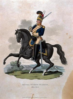 A soldier of the Royal Horse Guards, from Costumes of the Army of the British Empire, according to the last regulations 1812, engraved by J.C. Stadler published by Colnaghi and Co. 1812-15