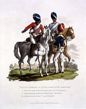 Native Troops in the East India Companys Service a Trooper of the Body Guard of the Governor General, a Private of the Bengal Regular Cavalry and a Private of the Java Voluntary, engraved by Joseph Constantine Stadler, 1815