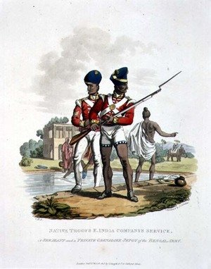 Native Troops in the East India Companys Service a Sergeant and a Private Grenadier Sepoy of the Bengal Army, engraved by Joseph Constantine Stadler, 1815