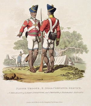 Famous paintings of Tent: Native Troops in the East India Companys Service a Sergeant of Light Infantry and a Private of the Madras Sepoys, engraved by Joseph Constantine Stadler, 1815