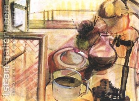 Still-life with Coffee-maker 1943 by Istvan Farkas - Reproduction Oil Painting