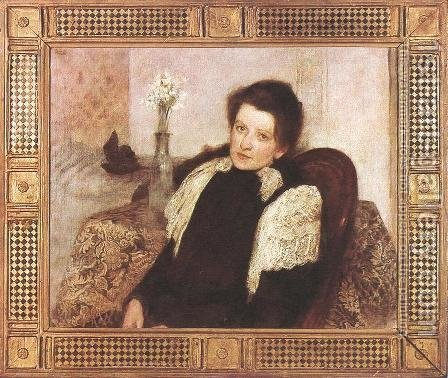 Portrait of the Artists Wife 1896 by Aladar Korosfoi-Kriesch - Reproduction Oil Painting