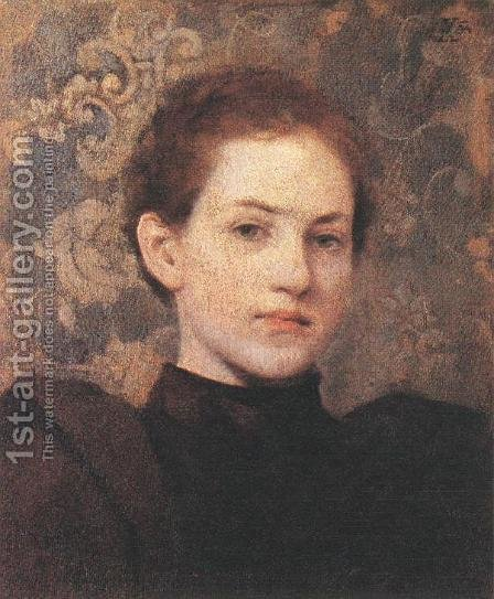 Portrait of Kriesch Laura 1894 by Aladar Korosfoi-Kriesch - Reproduction Oil Painting