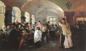 Famous paintings of Furniture: In the Hofbrauhaus in Munich 1892