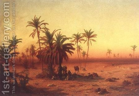 Antal Ligeti: Oasis in the Desert 1862 - reproduction oil painting