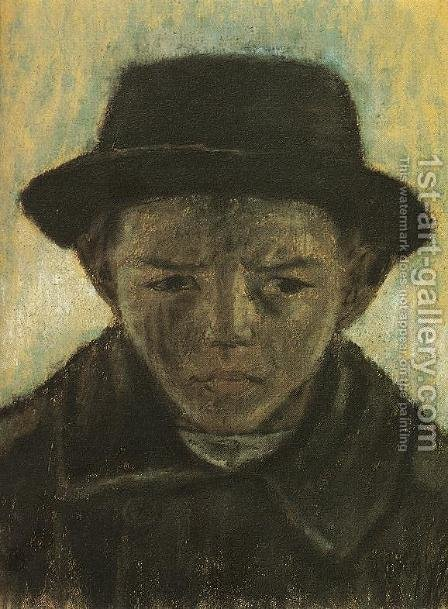 Hatted Head of a Boy c. 1930 by Istvan Nagy - Reproduction Oil Painting