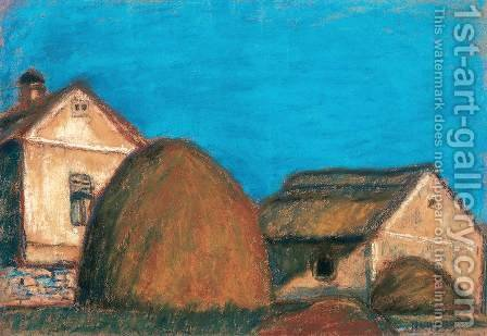 Haystacks with House by Istvan Nagy - Reproduction Oil Painting
