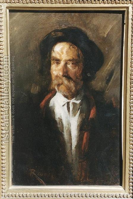 Portrait of an Old Polish Peasant by Imre Revesz - Reproduction Oil Painting
