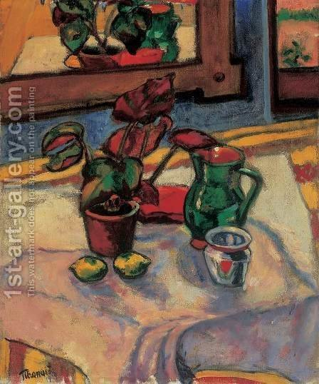 Lajos Tihanyi: Still-life with Flowes in a Pot 1909 - reproduction oil painting