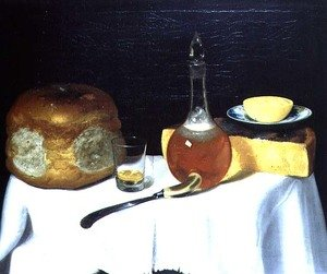 Still life with bread and cheese