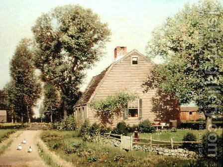 Old Homestead on the Turnpike, c.1889 by Henry Pember Smith - Reproduction Oil Painting