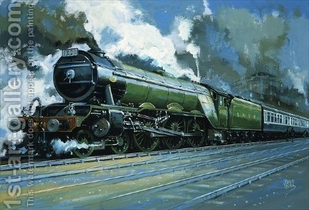 Unidentified steam train by John S. Smith - Reproduction Oil Painting