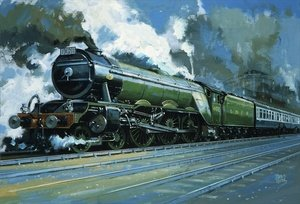 Modernism painting reproductions: Unidentified steam train